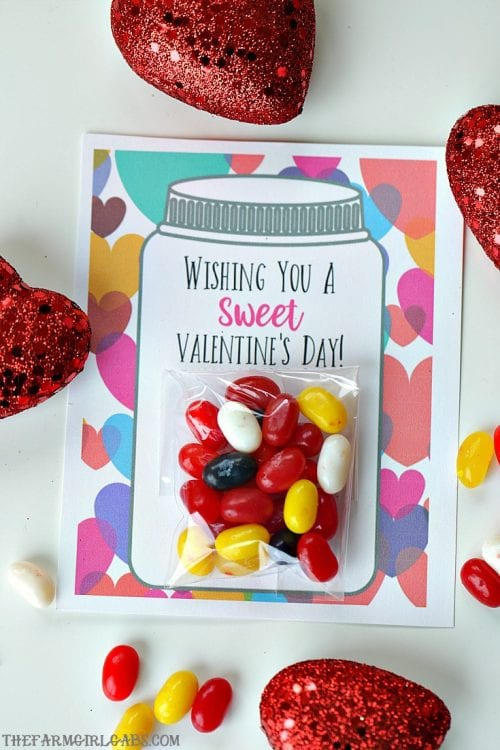 25+ Valentine Printables to be given with Candy featured by top US craft blog, The Crafty Blog Stalker: Sweet Candy Jar Valentines