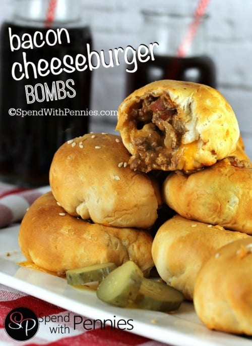 25 Football Party Recipes featured by top US craft blog, The Crafty Blog Stalker: Bacon Cheeseburger Bombs