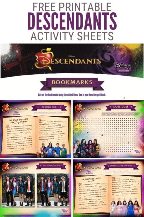 title image for Free Printable Disney Descendants Activity Sheets