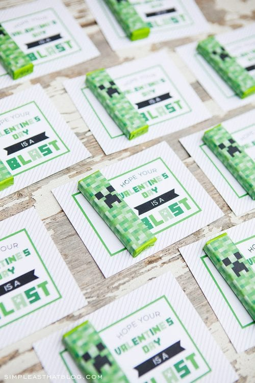 25+ Valentine Printables to be given with Candy featured by top US craft blog, The Crafty Blog Stalker: Printable Minecraft Gum Wrapper Valentines