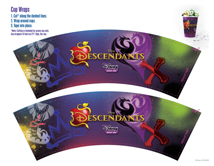 Disney Descendants Free Party Printables Cup Wraps