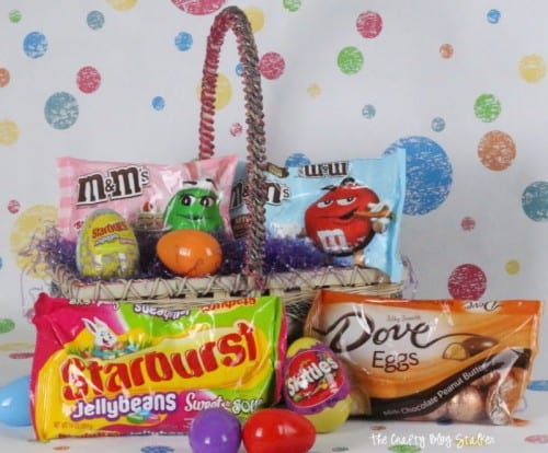 all of the best easter candy; m&ms, dove eggs, starburst jellybeans, and skittles