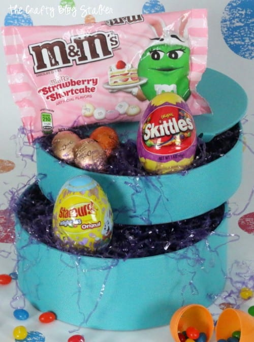 a jewelry box turned into an easter basket filled with easter candy