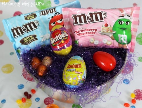 mixing bowls turned into an Easter basket filled with candy