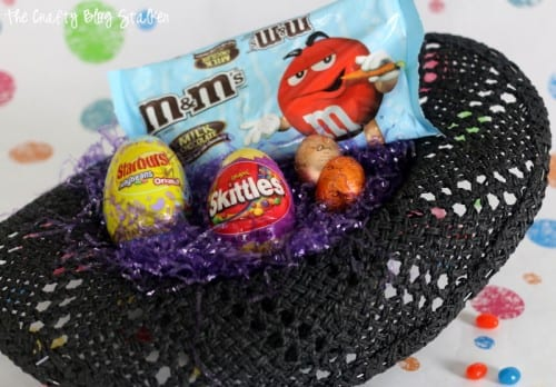 a cowboy hat turned into an Easter basket fill with Easter Candy