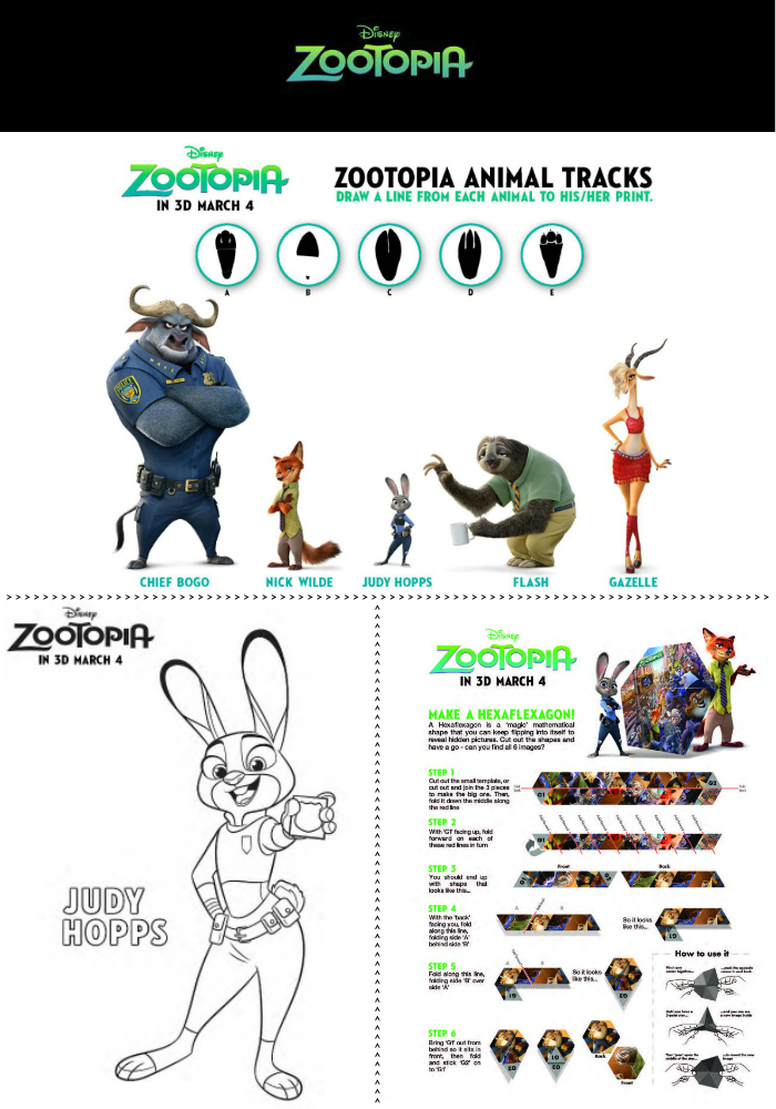 zootopia activity sheets food crafts and family. Black Bedroom Furniture Sets. Home Design Ideas