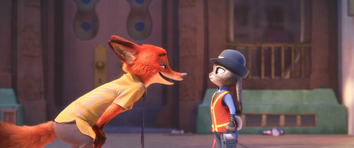 """NATURAL ENEMIES — Zootopia's first bunny officer Judy Hopps finds herself face to face with a fast-talking, scam-artist fox in Walt Disney Animation Studios' """"Zootopia."""" Featuring the voices of Ginnifer Goodwin as Judy and Jason Bateman as Nick, """"Zootopia"""" opens in theaters on March 4, 2016. ©2016 Disney. All Rights Reserved."""