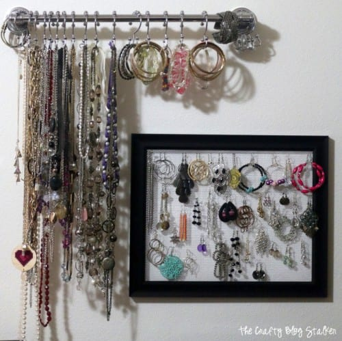 Earring Holder Frame | mesh earring holder frame and towel bar jewelry hanger on a wall displayed together