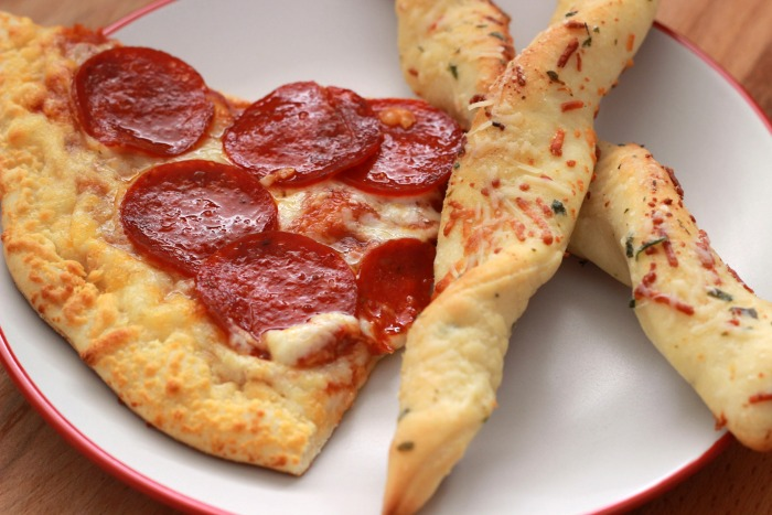 pizza and breadsticks