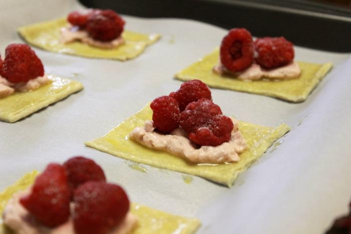 raspberry pastries ready to bake
