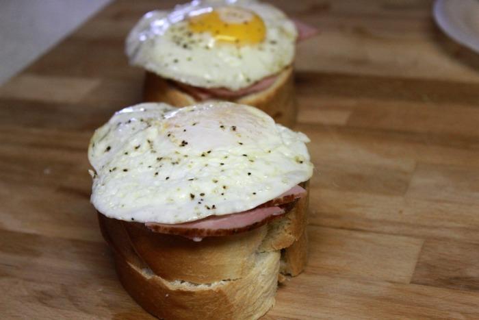 Eggs on sandwich