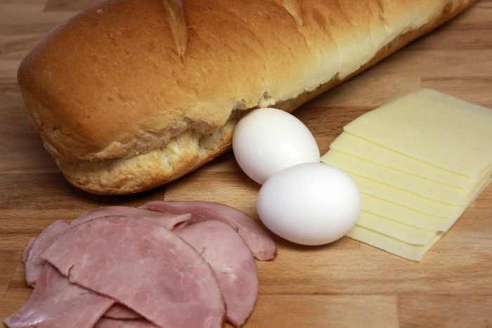 Ham and Egg Grilled Cheese ingredients