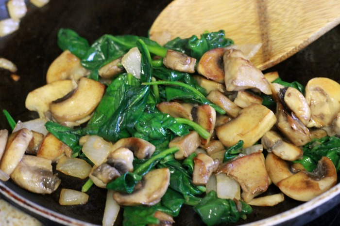 cooked spinach and mushrooms