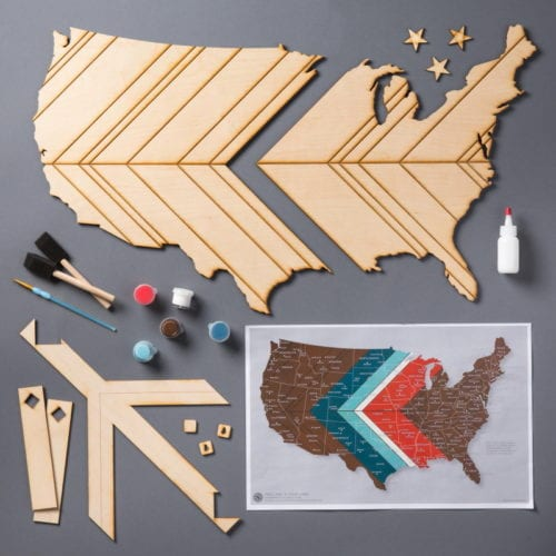 Inspirational Map Decor | United States | Laser-Cut Wood Map | DIY Home Decor