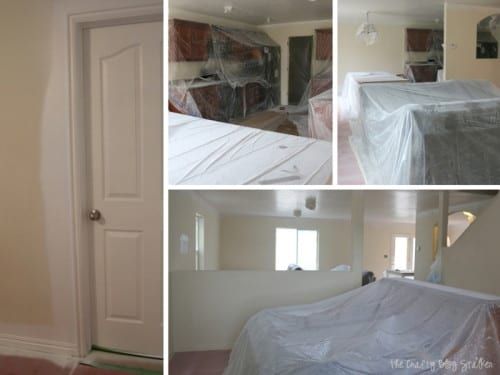 image collage of different areas of the home covered with plastic tarps for paint prep