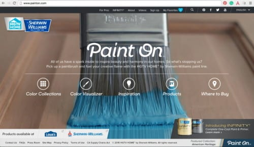 screen shot of sherwin williams website paint on
