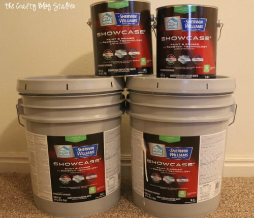 4 buckets of sherwin williams repose gray paint
