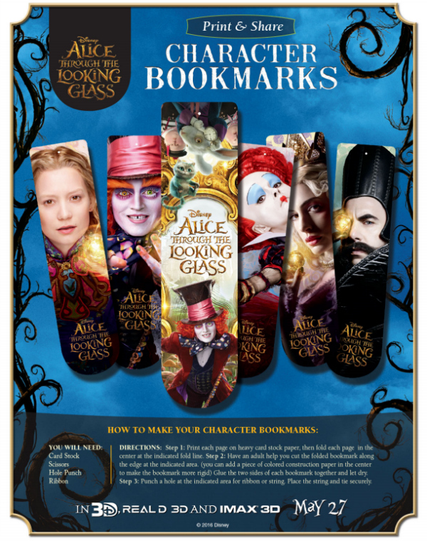 Alice Through The Looking Glass Printable Activity Pages: Bookmarks