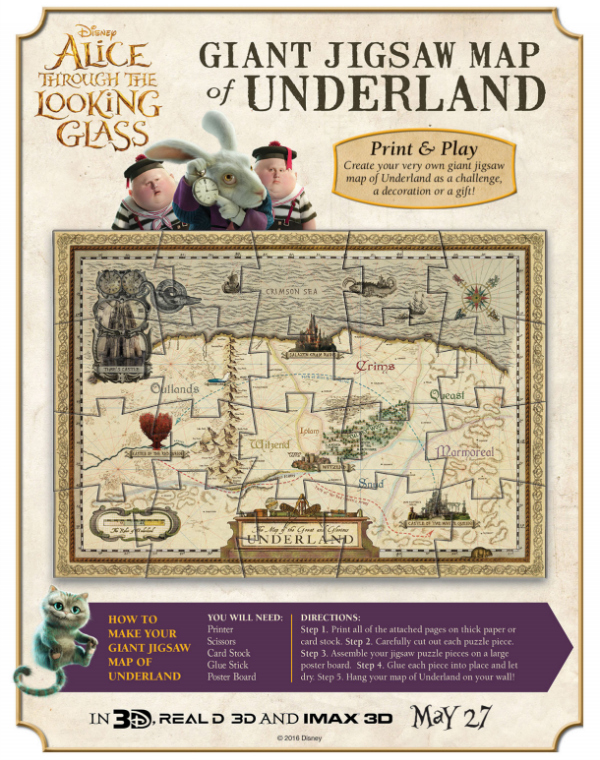 Alice Through The Looking Glass Printable Activity Pages: Giant Jigsaw Underland Map