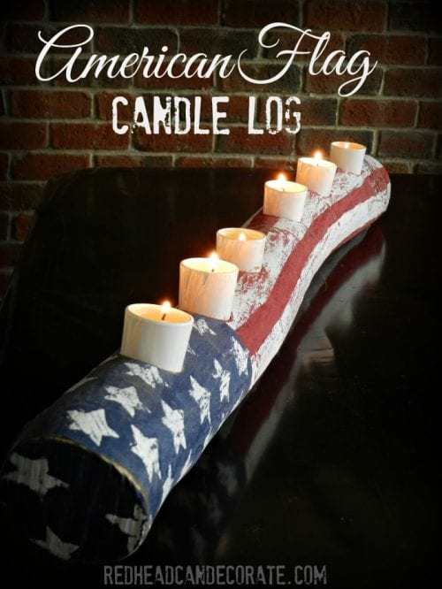 image of American Flag Log Candle