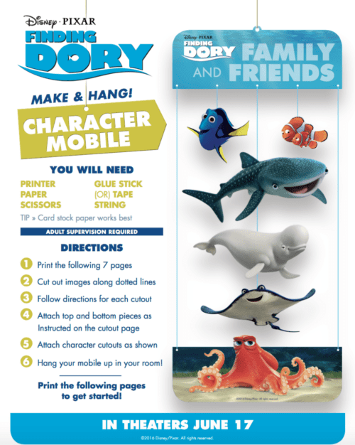 Finding Dory Character Mobile