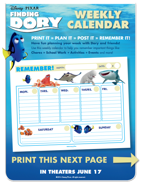 Finding Dory Weekly Calender