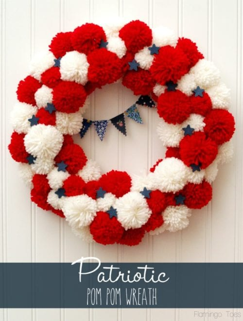 image of Patriotic Pom Pom Wreath