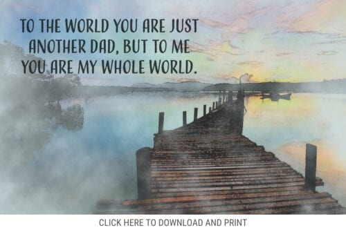 To the world you are just another dad, but to me you are my whole world
