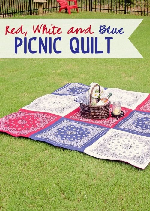 image of Red, White, and Blue Picnic Quilt