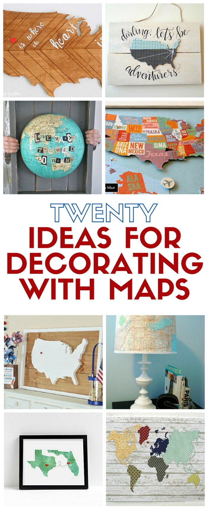 20 Ideas for Decorating with Maps | The Crafty Blog Stalker