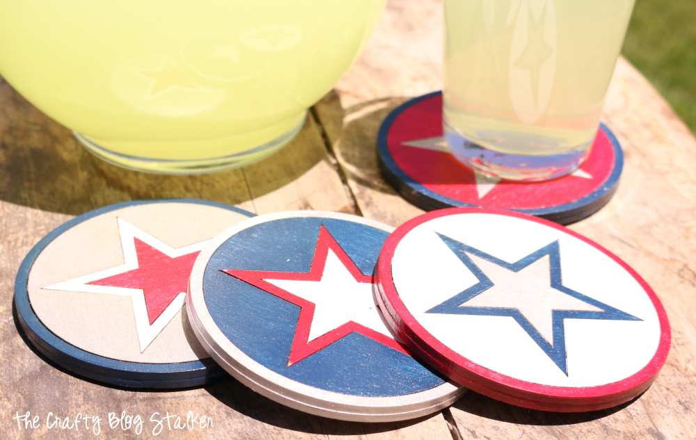 All-American Coasters are a perfect example of Americana. Show off your DIY patriotic side, or match your red, white, and blue home decor color scheme.