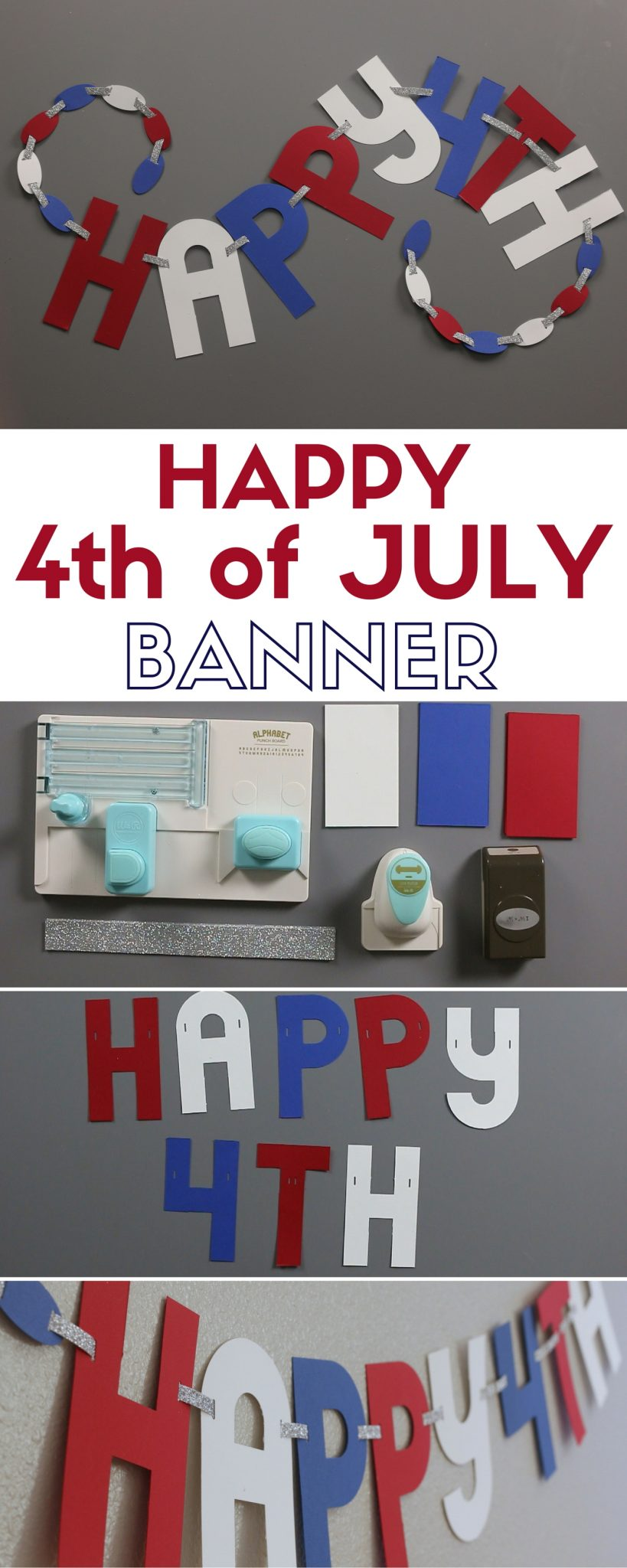 Make a simple 4th of July Banner perfect for Independence Day. You'll learn how to use the Alphabet Punch Board and link the letters of the banner together.