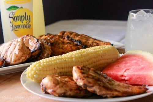 grilled chicken with corn, watermelon and lemonade