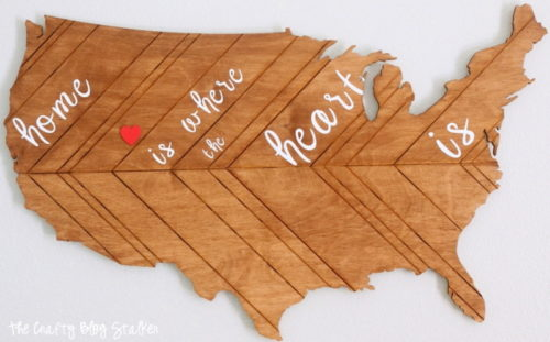 Create a patriotic home decor piece that you can keep up all year long. This laser cut wood map can be painted and personalized to match your style.