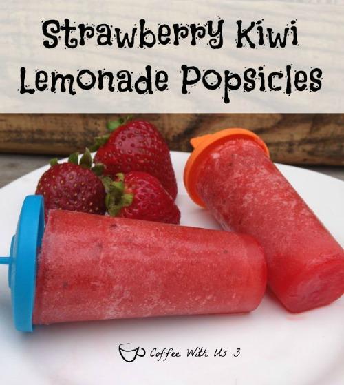 image of Strawberry Kiwi Lemonade Popsicles