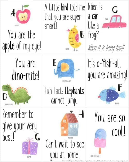 Lunchbox notes are a simple way to remind your child you are thinking of them when they are at school. These free printable notes are a great time saver!