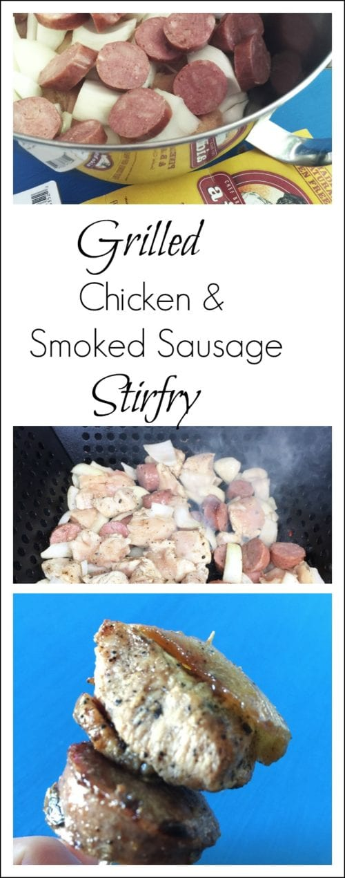 Grilled chicken breast nuggets with smoked sausage and vegetables for a quick and easy appetizer, party food, or main dish.