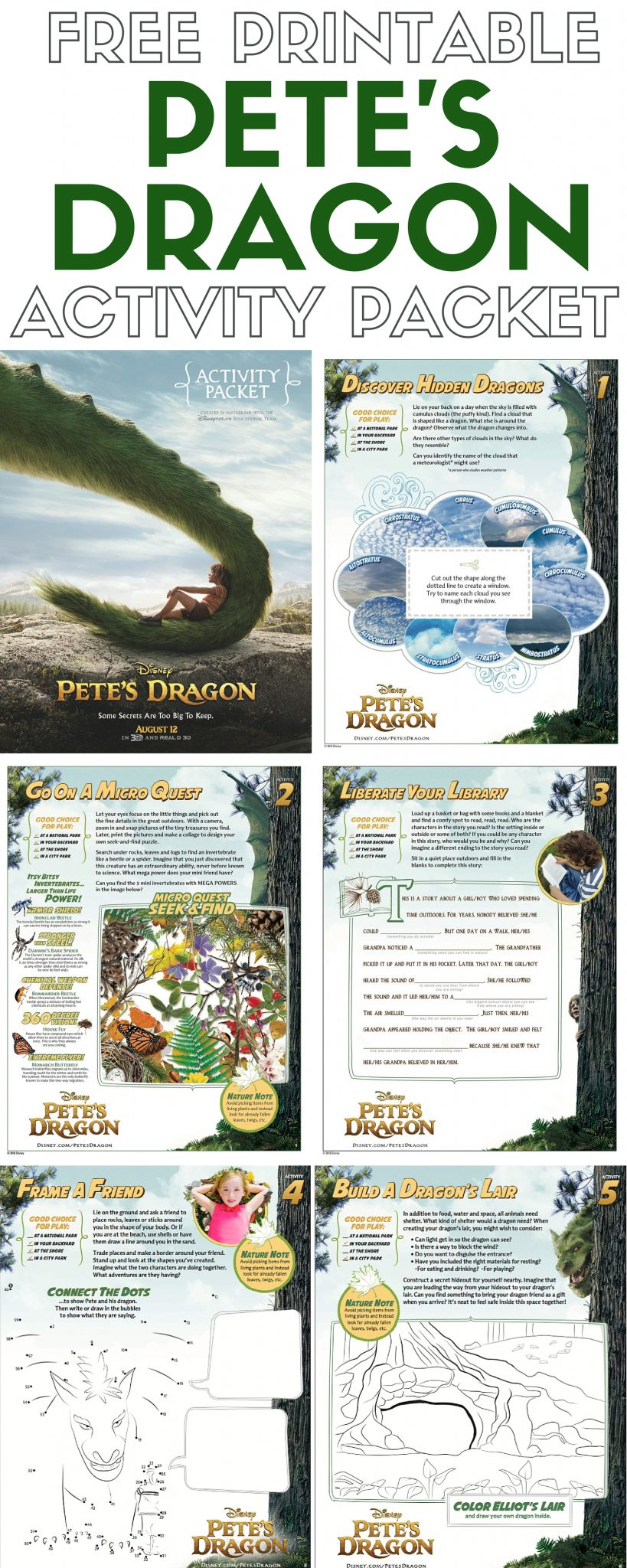 Download free printable activity sheets for Disney's Pete's Dragon and fall in love all over again!