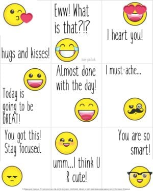 For older kids check out these emoji lunchbox notes at Homespun Engineer.