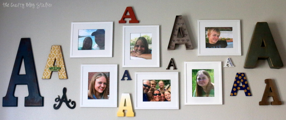 Learn how to design a Monogram Photo Gallery Wall for your space. Create beautiful DIY home decor that turns your house into a home.