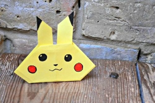 Top 20 Pokemon Party and Craft Ideas featured by top US craft blog, The Crafty Blog Stalker: Origami Pikachu