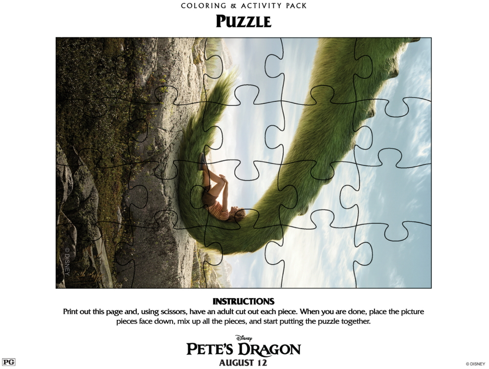 Pete's Dragon Free Printable Activity Sheets featured by top US craft blog, The Crafty Blog Stalker.