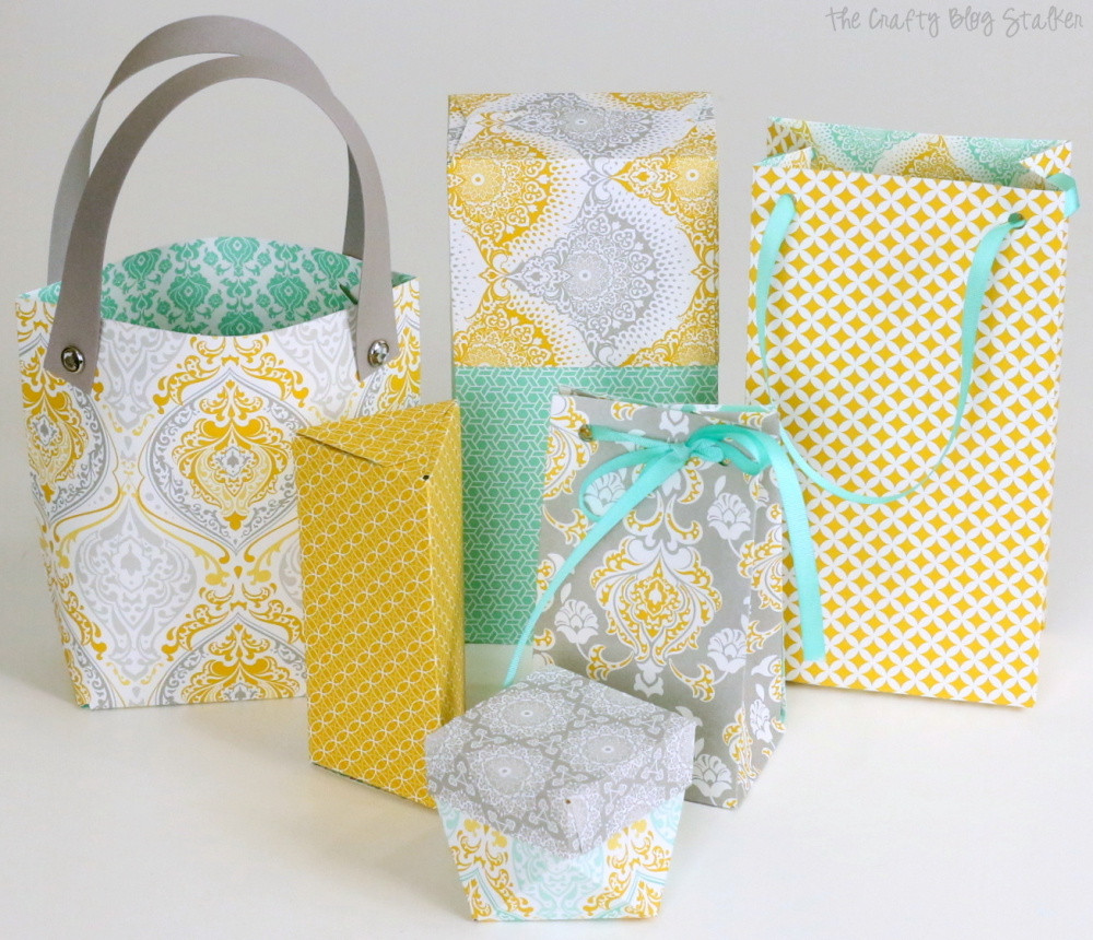 Gift boxes and bags made with bag punch board the