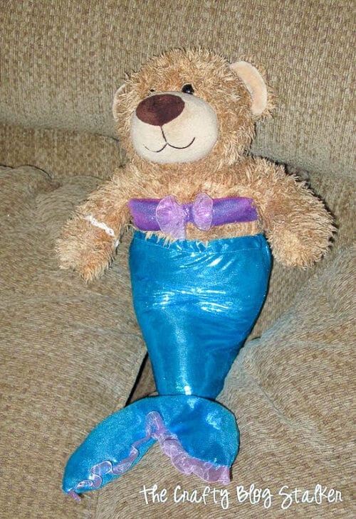 image of a teddy bear wearing a mermaid costume