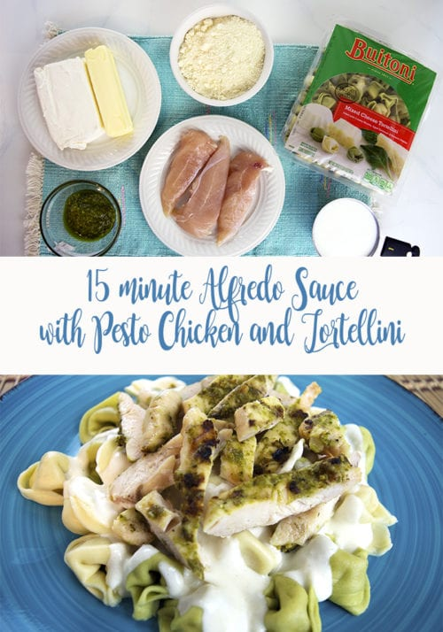 15 minute Alfredo sauce is the easiest pasta sauce. Serve it over Tortellini with Pesto chicken for a delicious meal in less than 30 minutes. A simple dinner recipe idea.