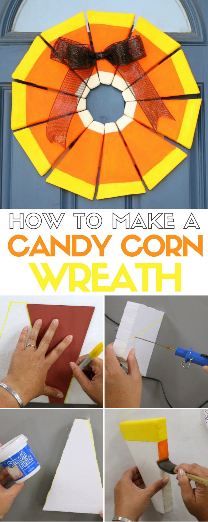 How to make a Candy Corn Wreath using Styrofoam. A simple DIY craft tutorial idea for fun Halloween Decoration or fall home decor.