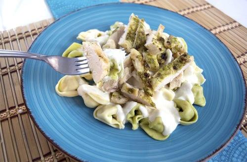Pesto Chicken Alfredo over Tortellini