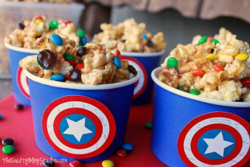 popcorn cups ready for movie night!
