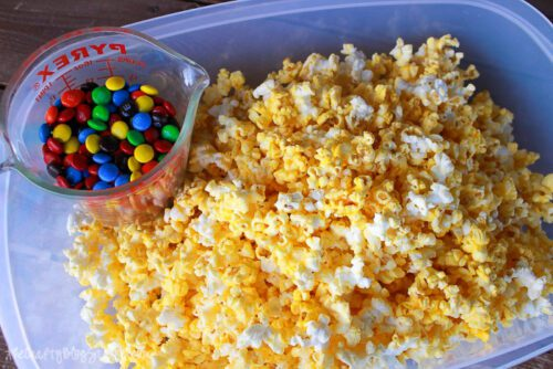 popcorn in a large bowl with MMs