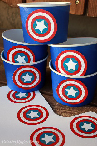 blue cups with patriotic circles attached to the front